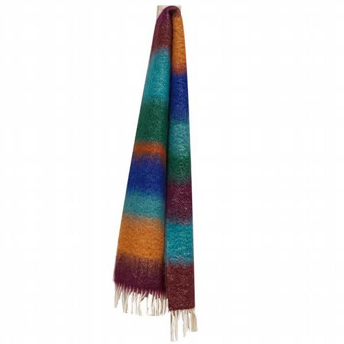 Striped Mohair Scarf - Magenta / Blue